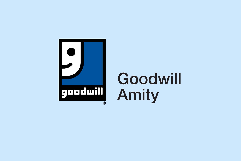 Goodwill Amity logo on blue background